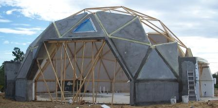 geodesic dome home partially complete